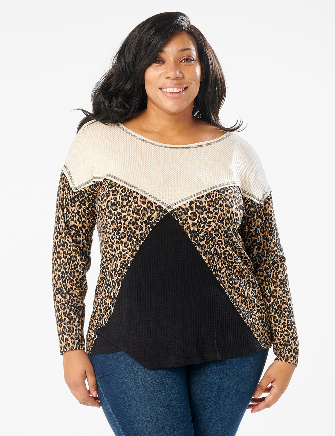 Mixed Animal Thermal Print Knit Top - Plus -Oatmeal - Front
