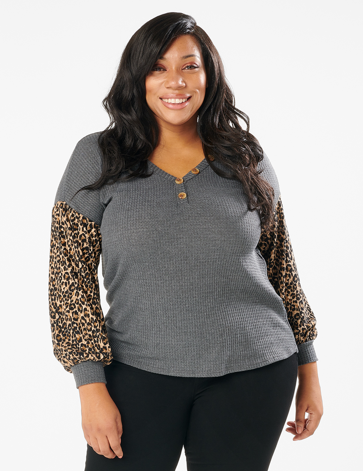 Y Henley Mixed Animal Thermal Knit Top - Plus -Grey - Front