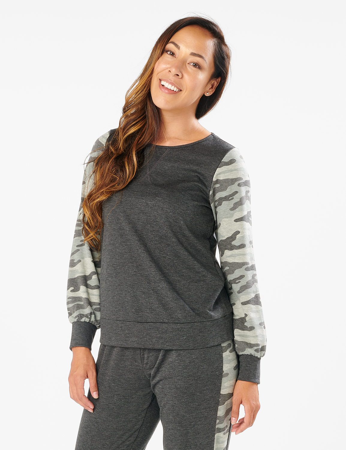 Camouflage Mixed Print Knit Top - Misses -Charcoal - Front