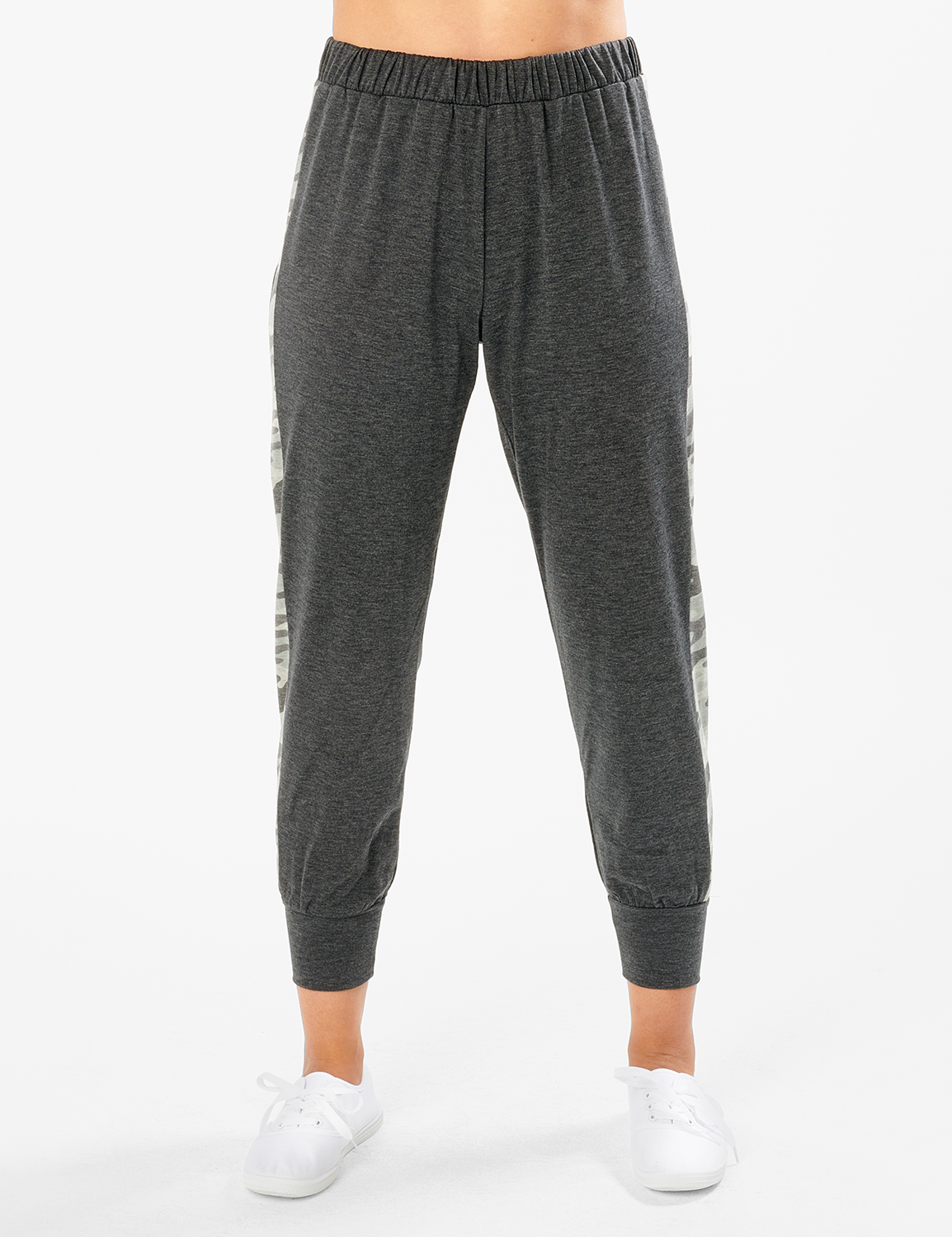 Jogger Knit Pant With Camouflage Trim - Misses -Charcoal - Front