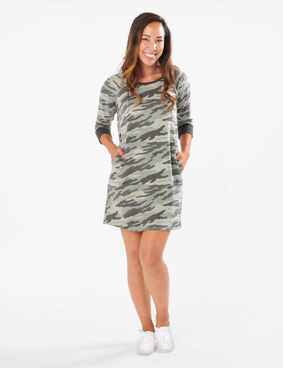 Camouflage Knit Dress - Misses -Charcoal - Front