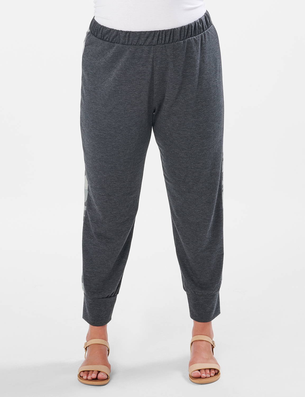 Jogger Knit Pant With Camouflage Trim - Plus -Charcoal - Front