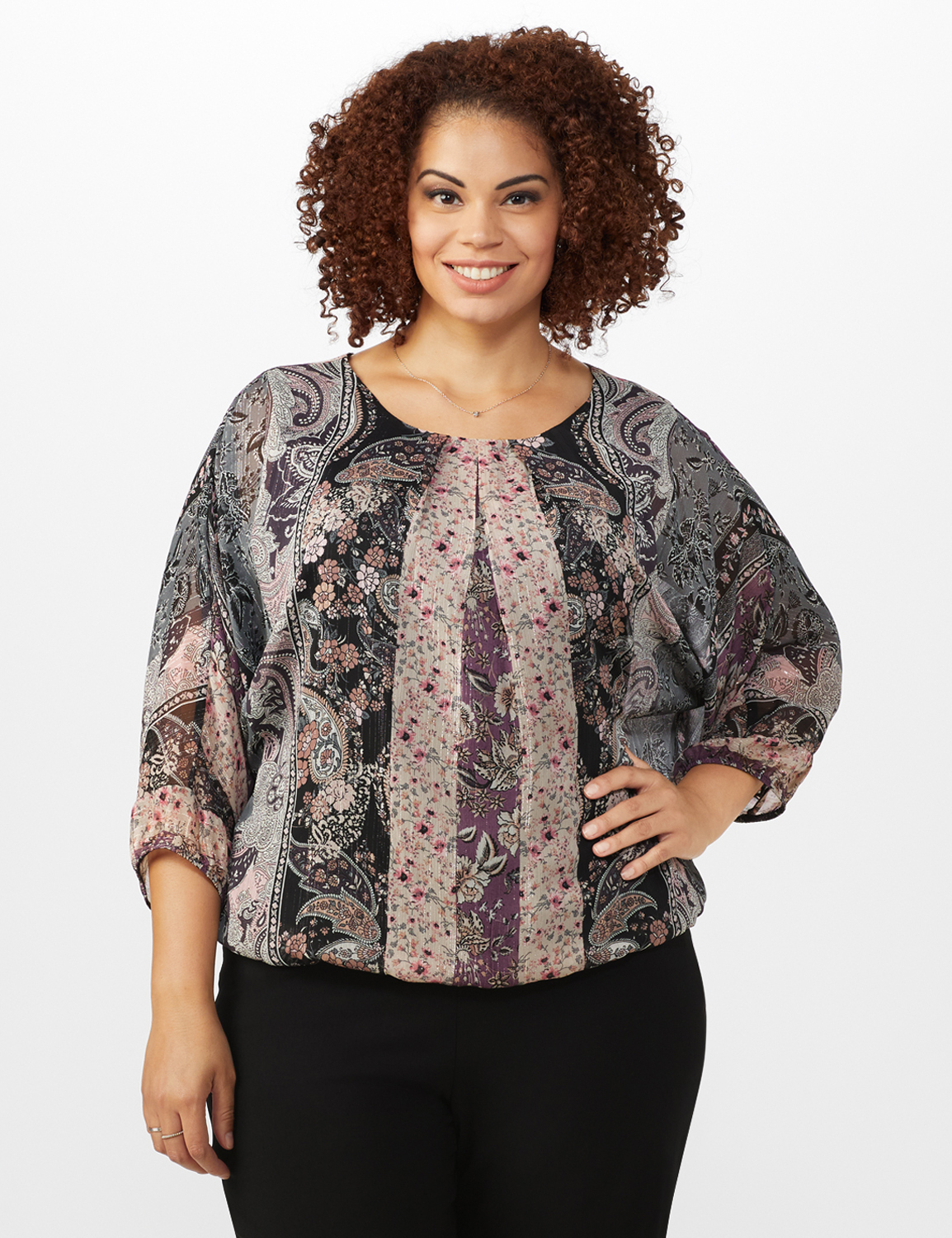 Roz & Ali Floral Bubble Hem Lurex Blouse - Plus -Plum - Front