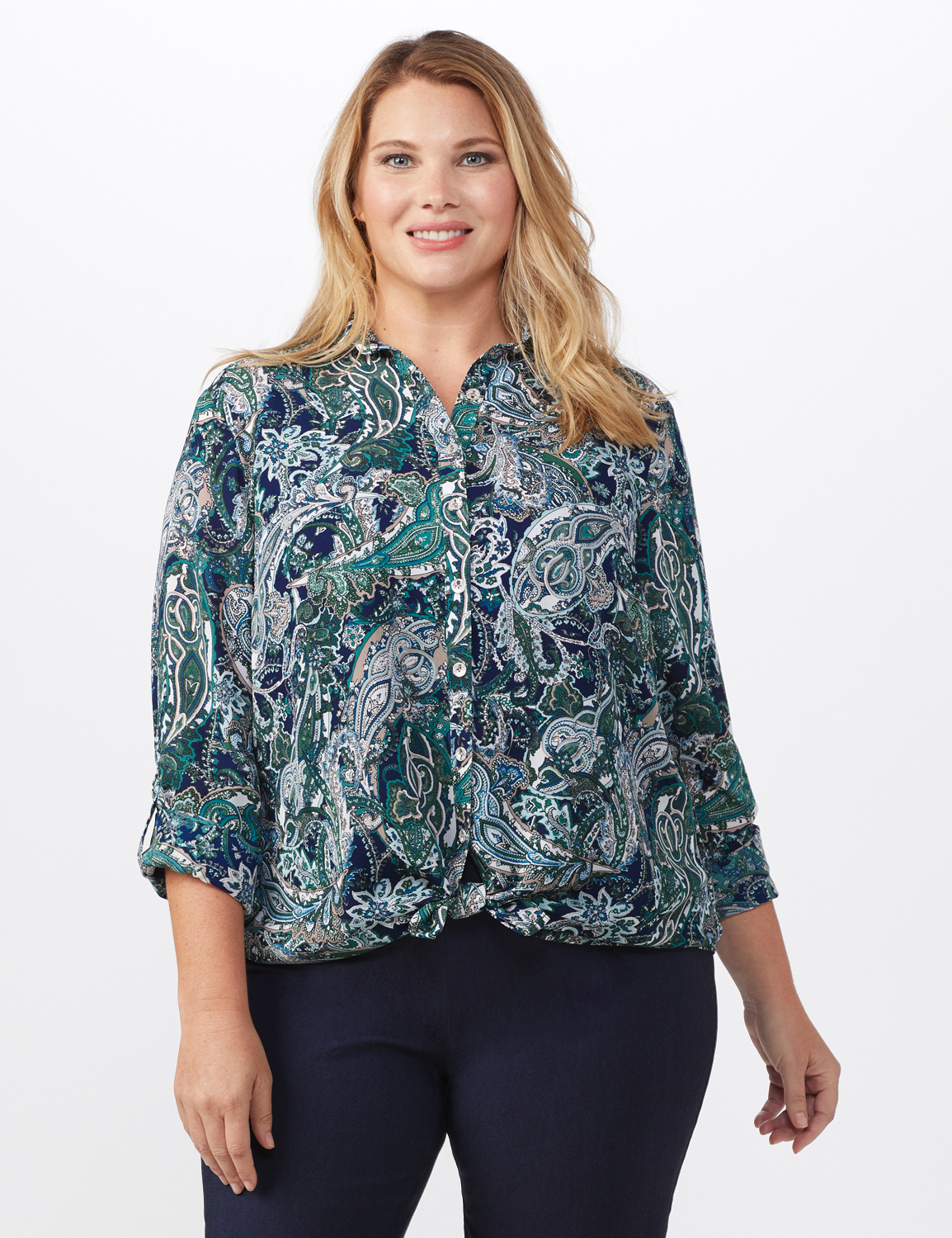 """Roz & Ali """"To Tie Or Not To Tie"""" Button Front Shirt - Plus -Navy - Front"""