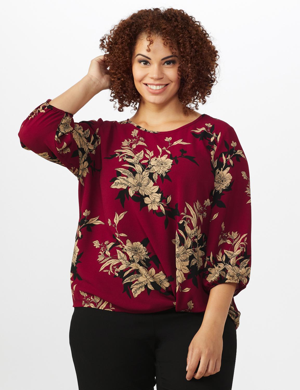 Roz & Ali Floral Crepe Texture Knot Blouse - Plus -Burgundy - Front