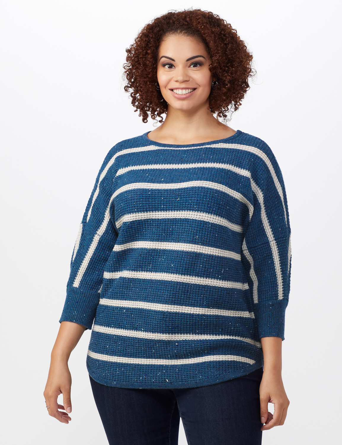 Westport Stripe Curved Hem Sweater - Plus -Vintage Denim/Silver - Front