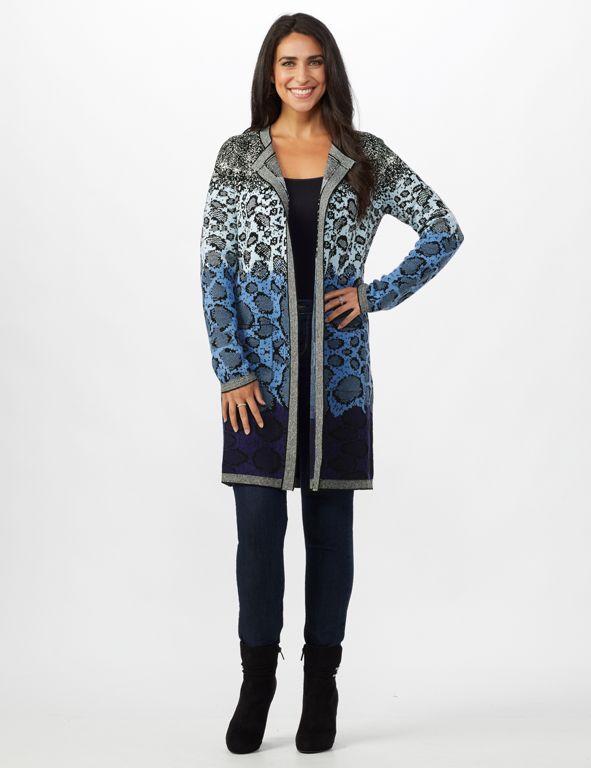 Roz & Ali Ombre Animal Duster Sweater - Misses - Blue Combo - Front
