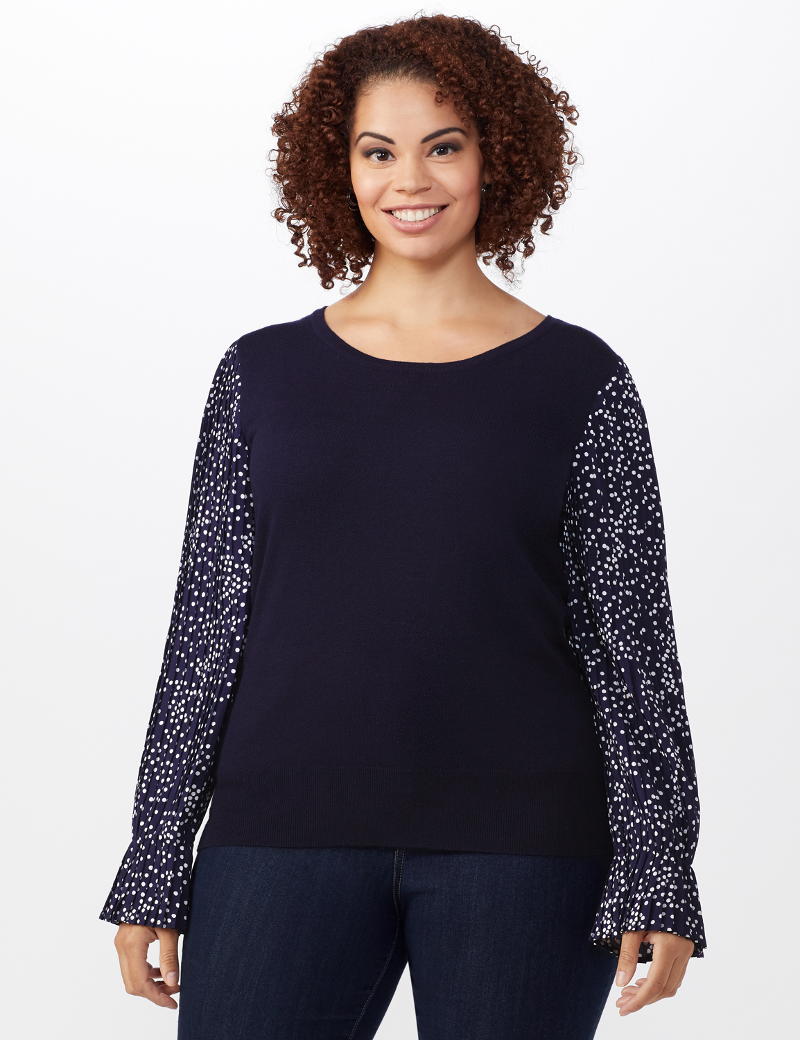 Roz & Ali Pleated Sleeve Pullover Sweater - Plus -Navy - Front