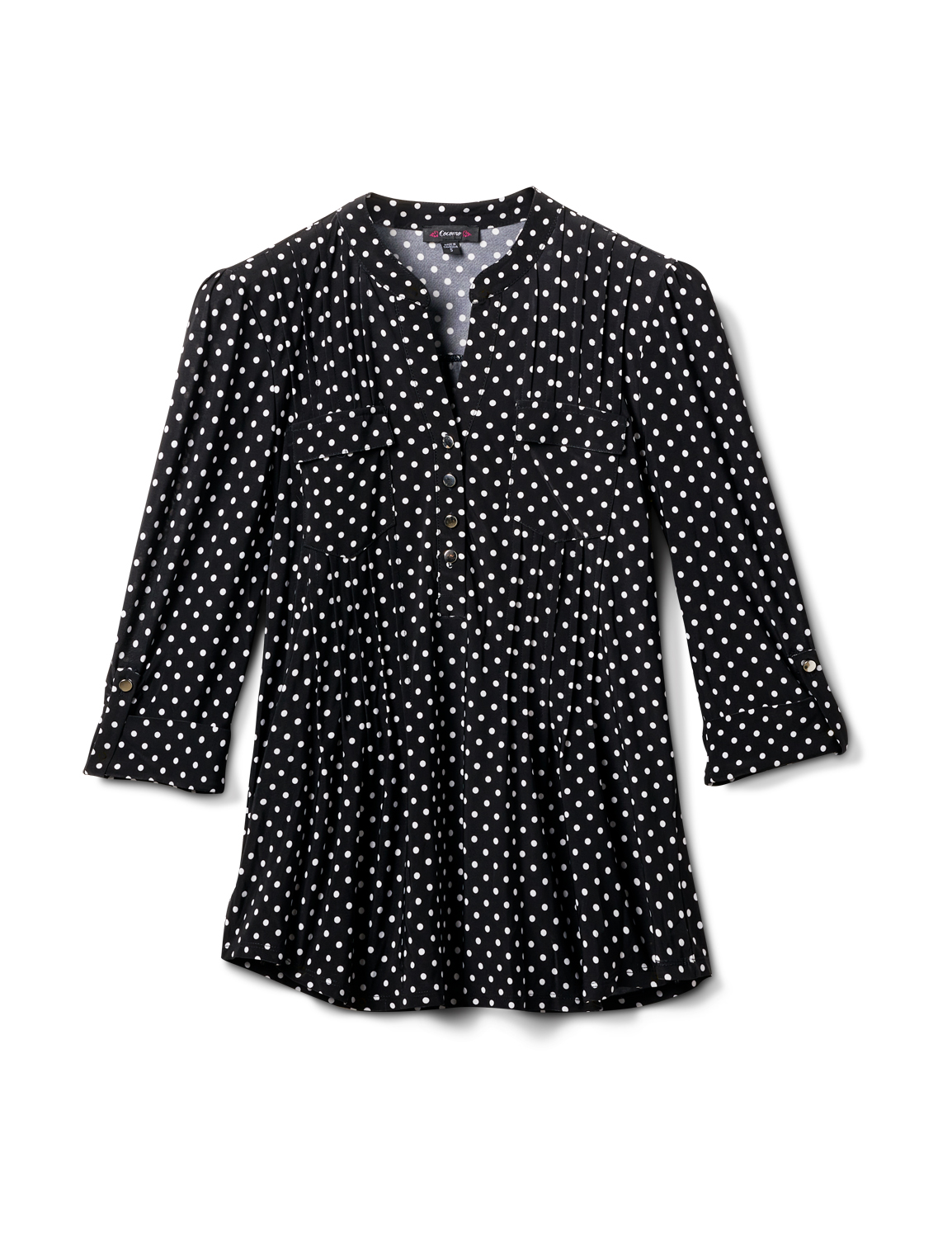 Dot Pintuck Popover - Misses -Black/White - Front