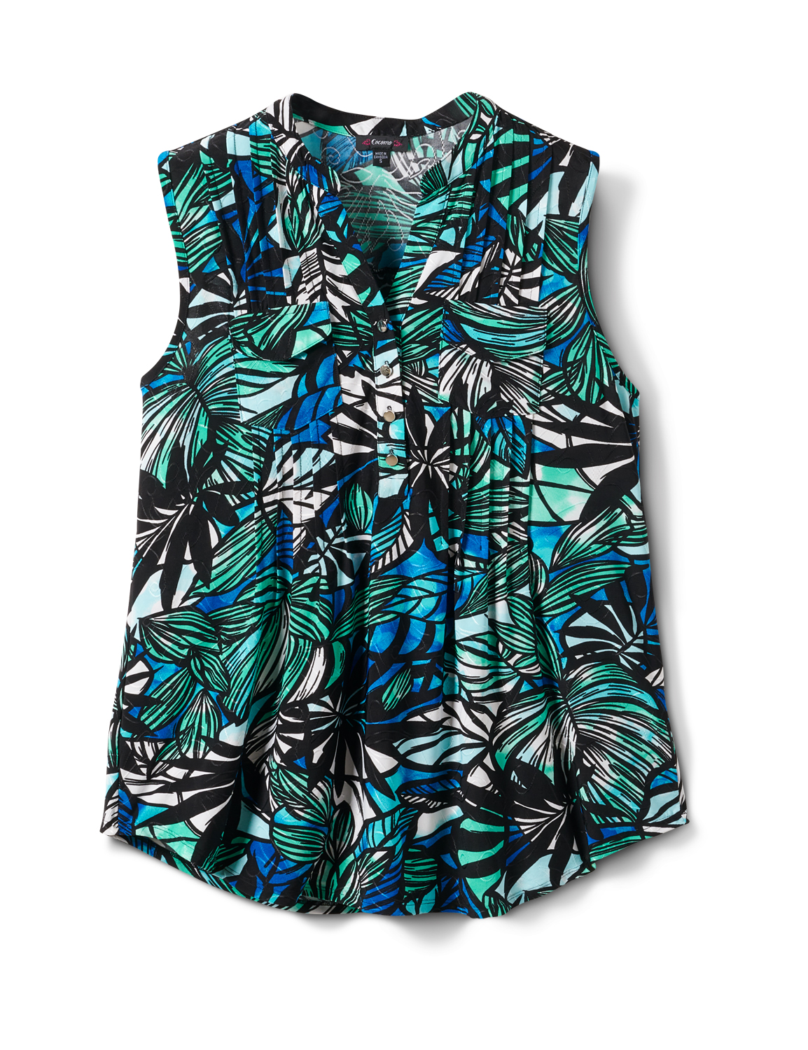 Palm Jaquard Pintuck Popover -Green/Blue - Front