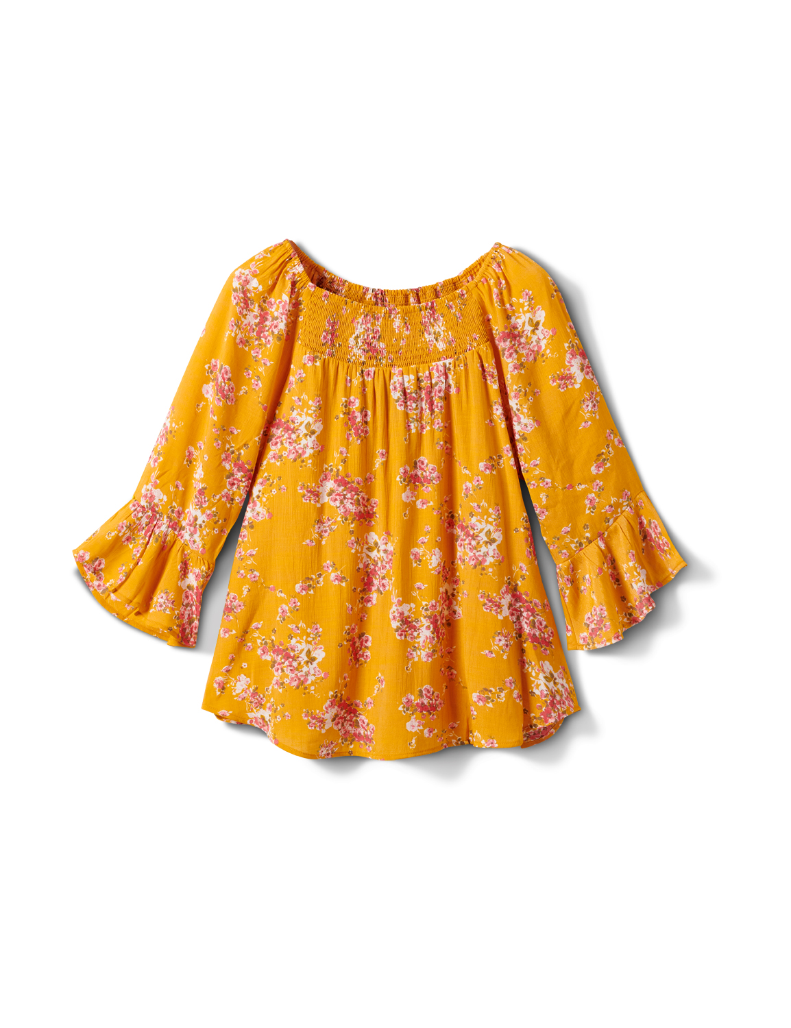 Floral Smock Neck Peasant Top -Gold/Red - Front