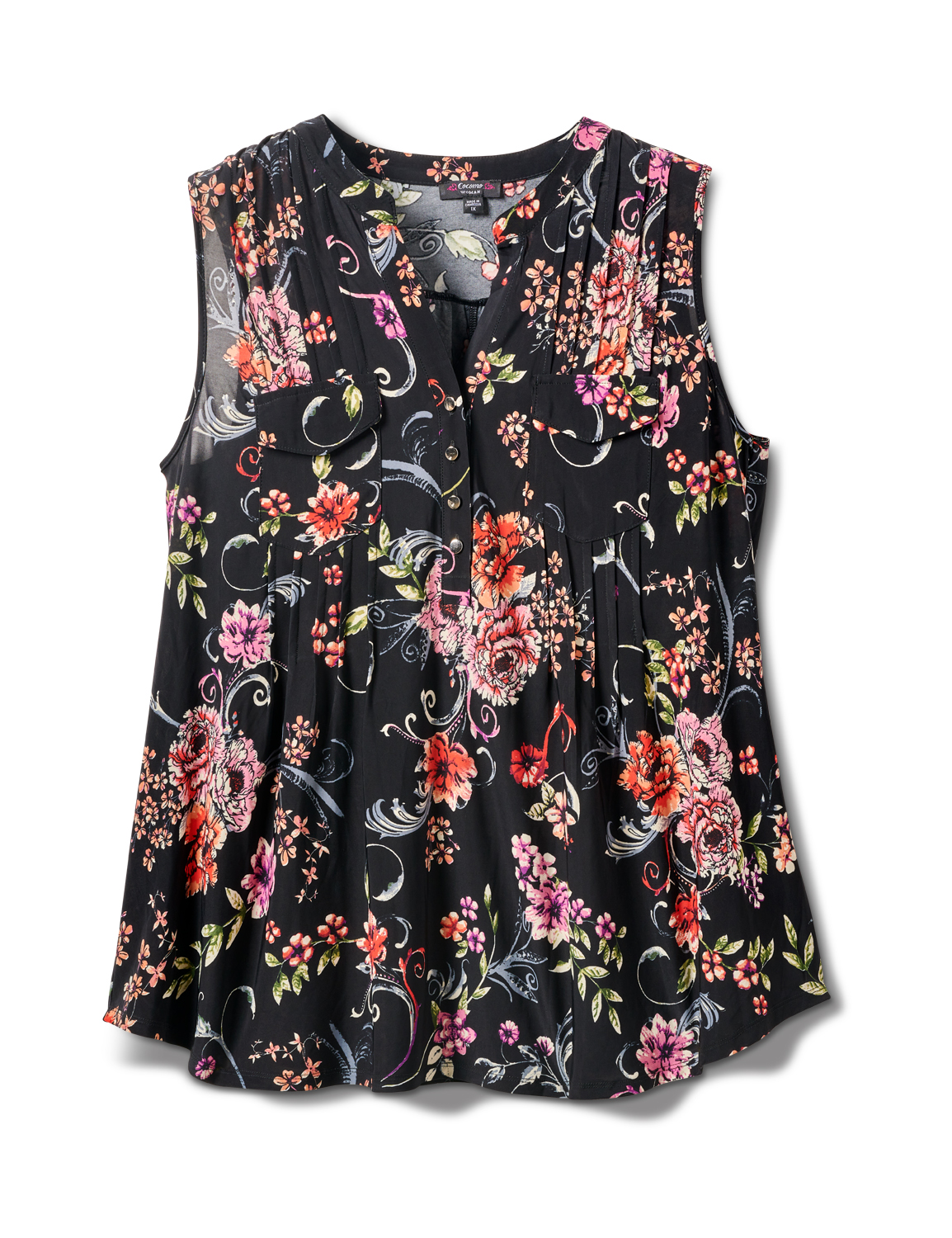Sleeveless Floral Pintuck Popover -Black/Pink/Red - Front