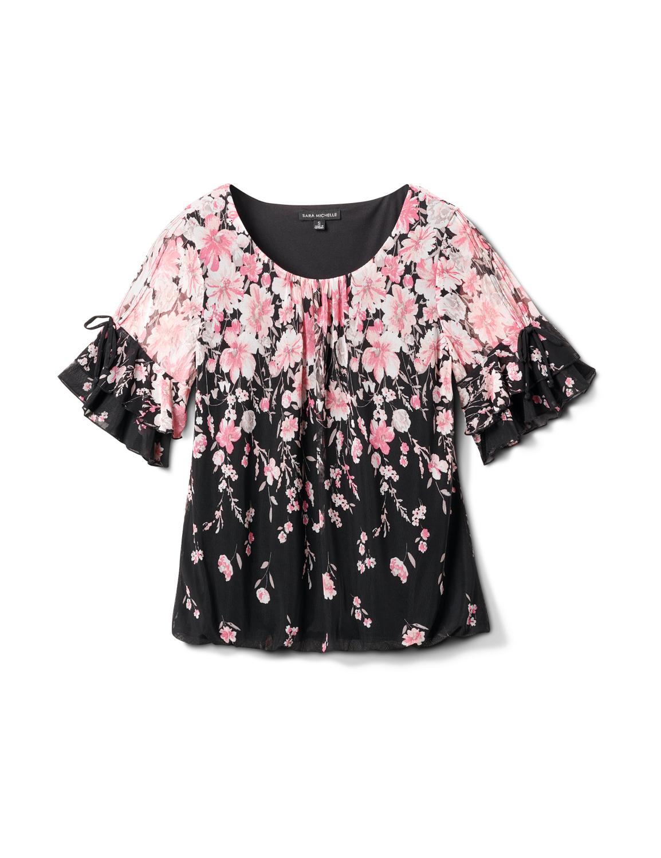 Placed Floral Bubble Hem Blouse -Black/Blush - Front