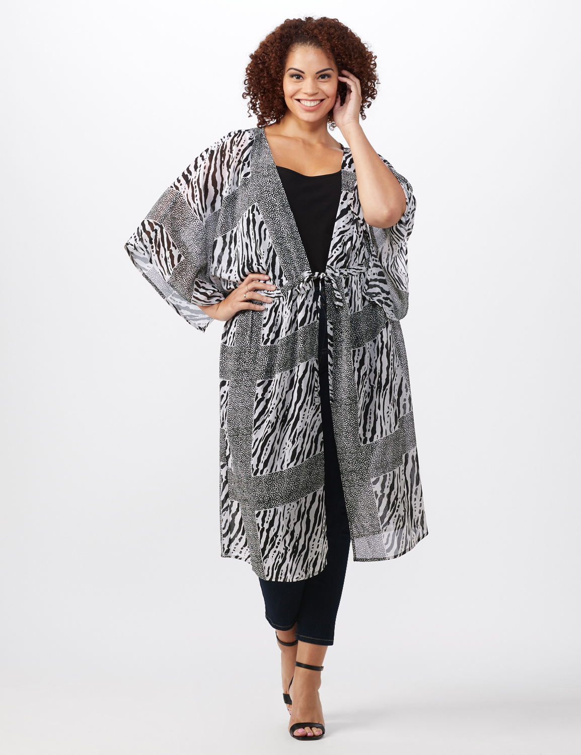 Animal Tie Front Belted Kimono - Plus -White/Black - Front