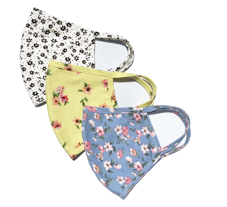 3 Pack Ditsy Floral Fashion Masks -Pink, Blue. Black/White - Front