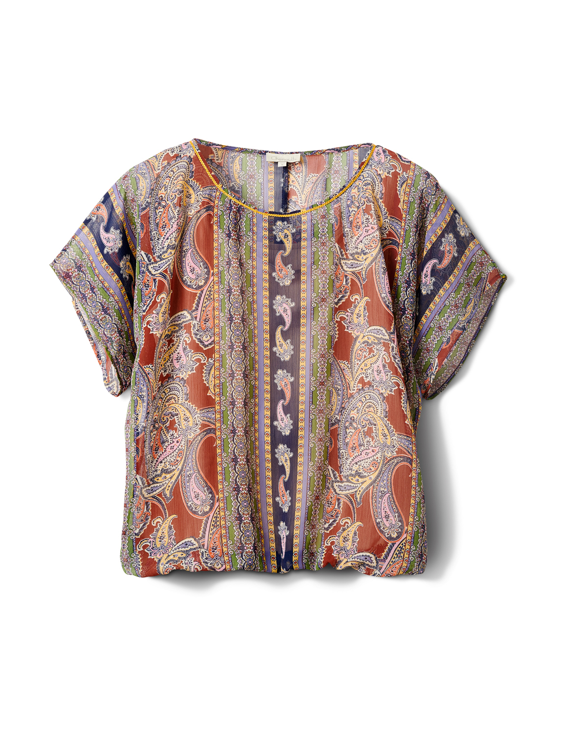 Placed Paisley Bubble Hem Blouse - Navy/Terracotta - Front