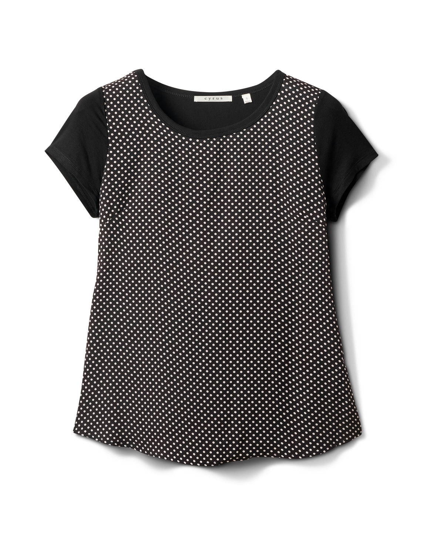 Dot Mix Media Knit Top -Black - Front