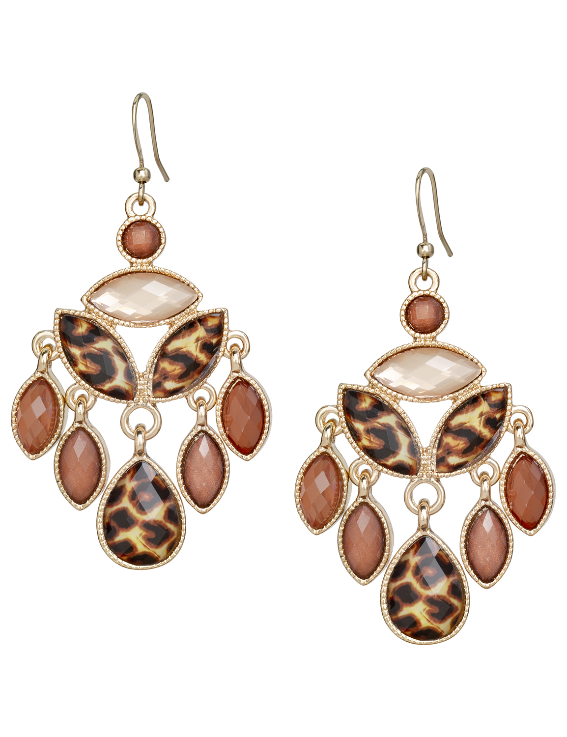 Leopard Chandelier Earrings -Brown - Front