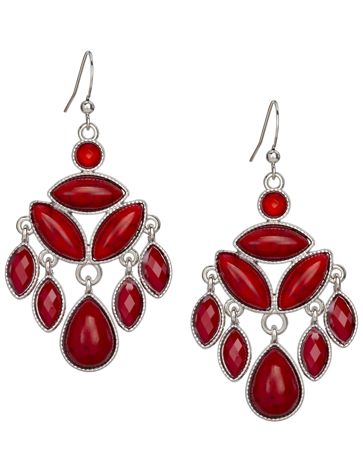 Red Stone Chandelier Earrings -Red - Front