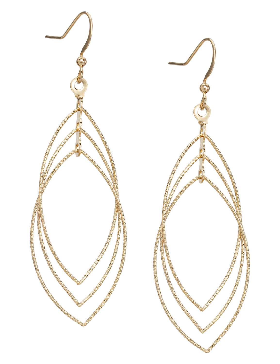 Layered Gold Leaf Earrings -Gold - Front