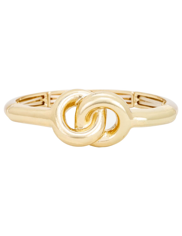 Gold Knot Bangle Bracelet -Gold - Front