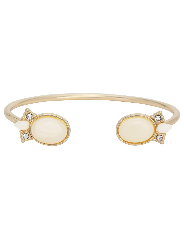 Fancy Gem Inlay Gold Bangle Bracelet -Gold - Front