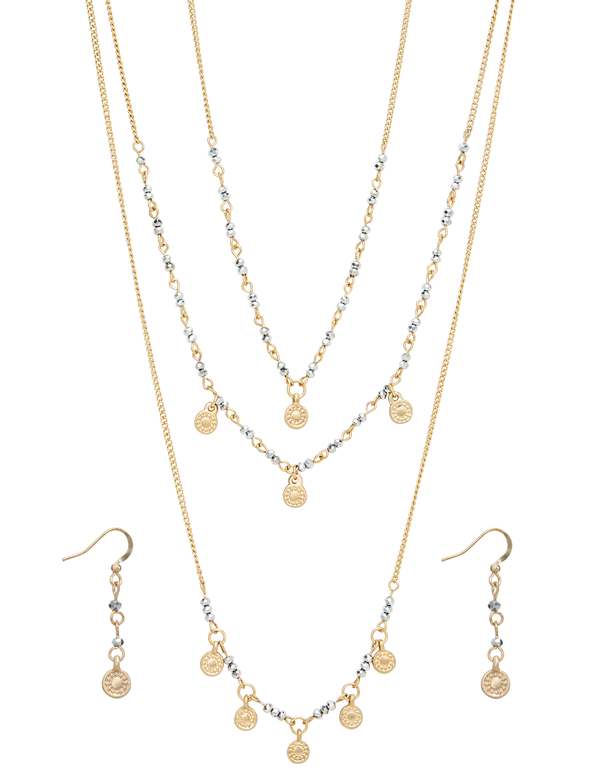 Gold Medallion Beaded Layered Necklace and Earring Set - Gold - Front