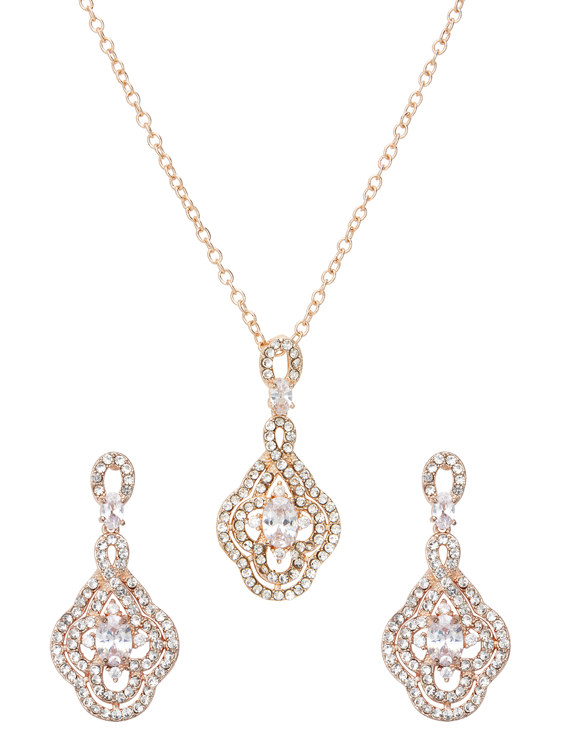 Fancy Rose Gold Evening Jewelry Set -Rose Gold - Front