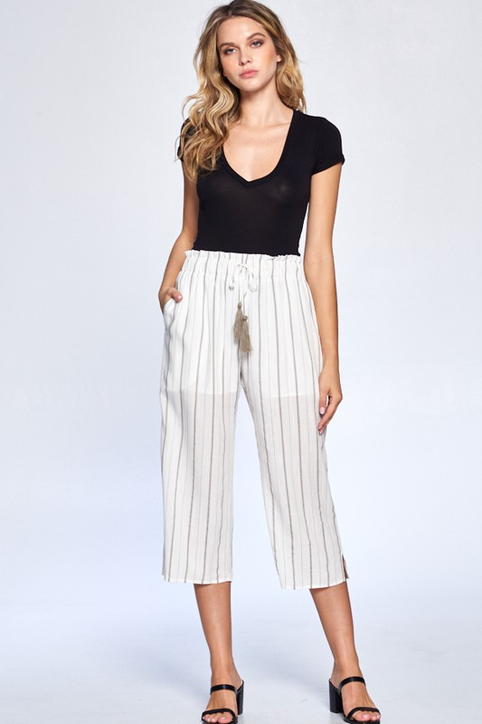 Pinstripe Drawstring Ankle Pants -Grey - Front