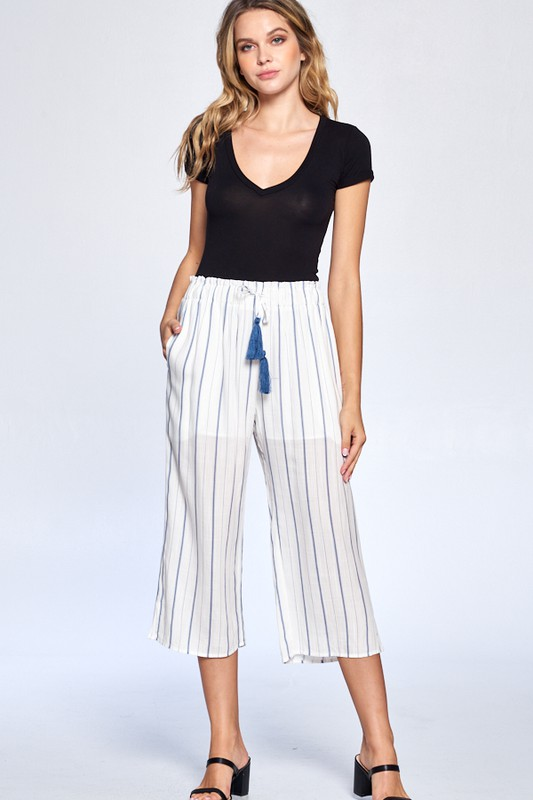 Pinstripe Drawstring Ankle Pants -Navy - Front