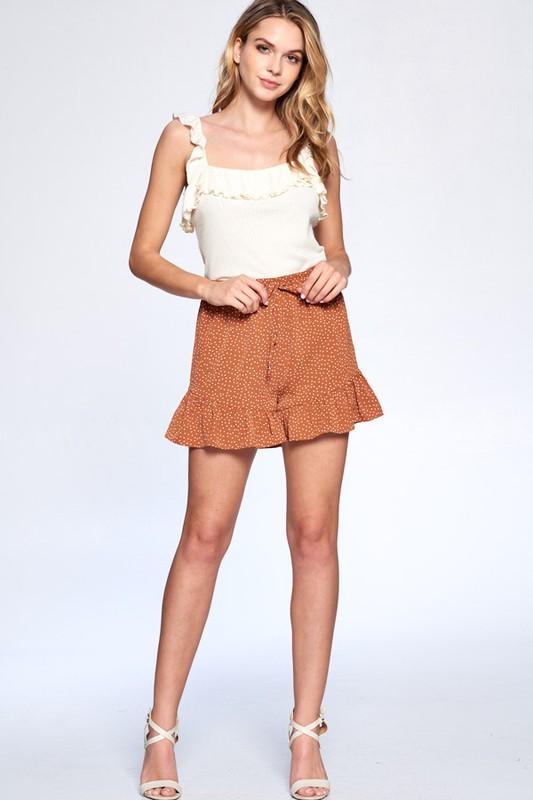 Dot Print Flutter Hem Shorts -Amber - Front
