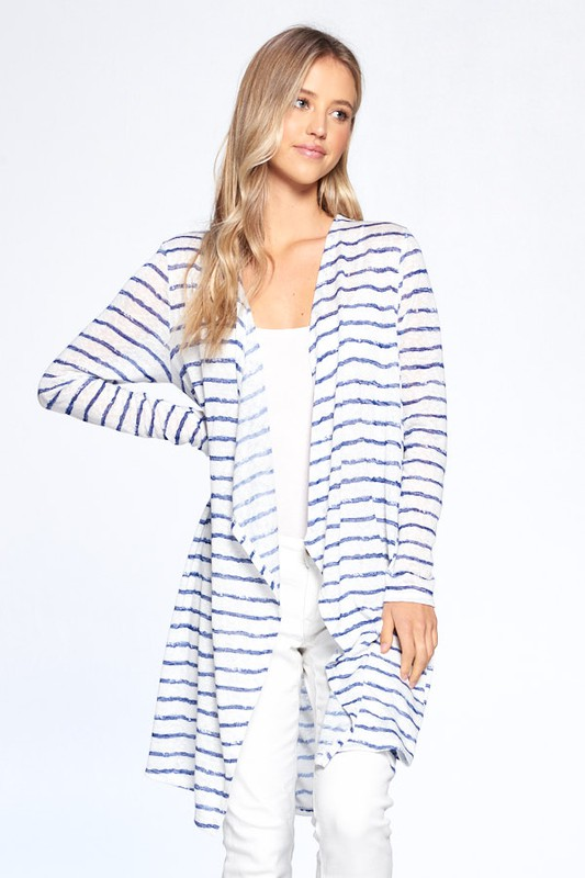 Loose Fit Striped Cardigan -Off White / Navy - Front