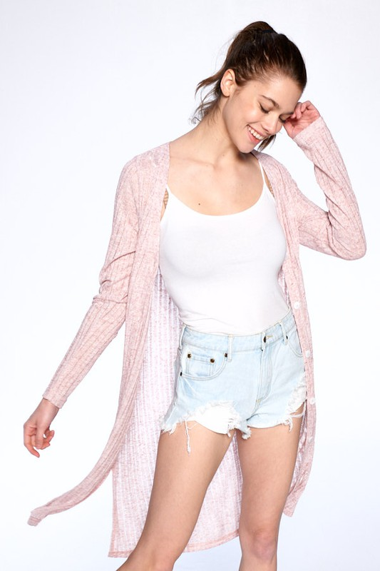 Cozy Long Tail Cardigan - Pink - Front