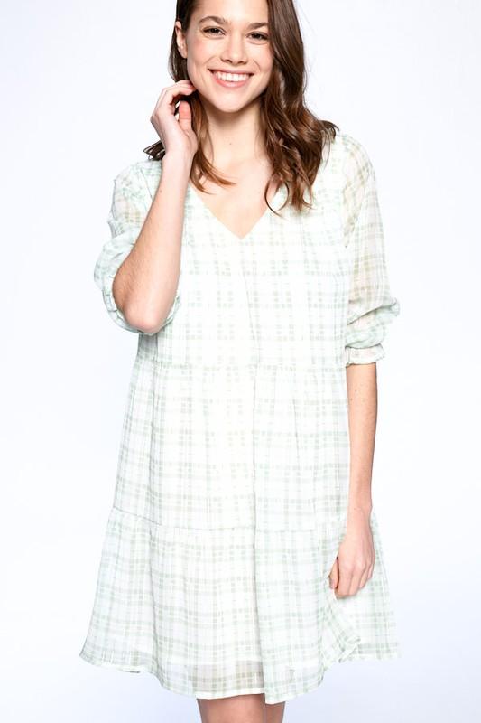 Light Plaid Night Dress -Green Plaid - Front