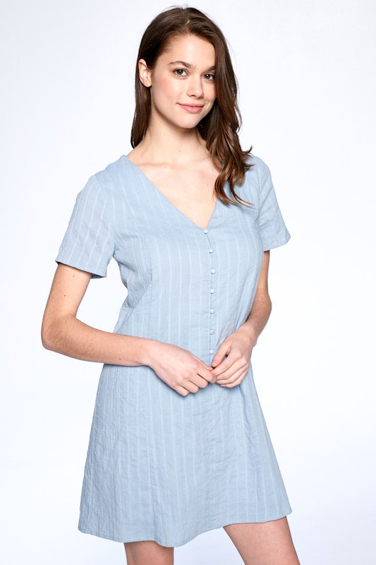 Drawstring Back Night Dress -Dusty Blue - Front