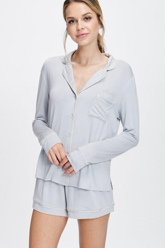 Cozy Nightwear Jacket -Silver - Front