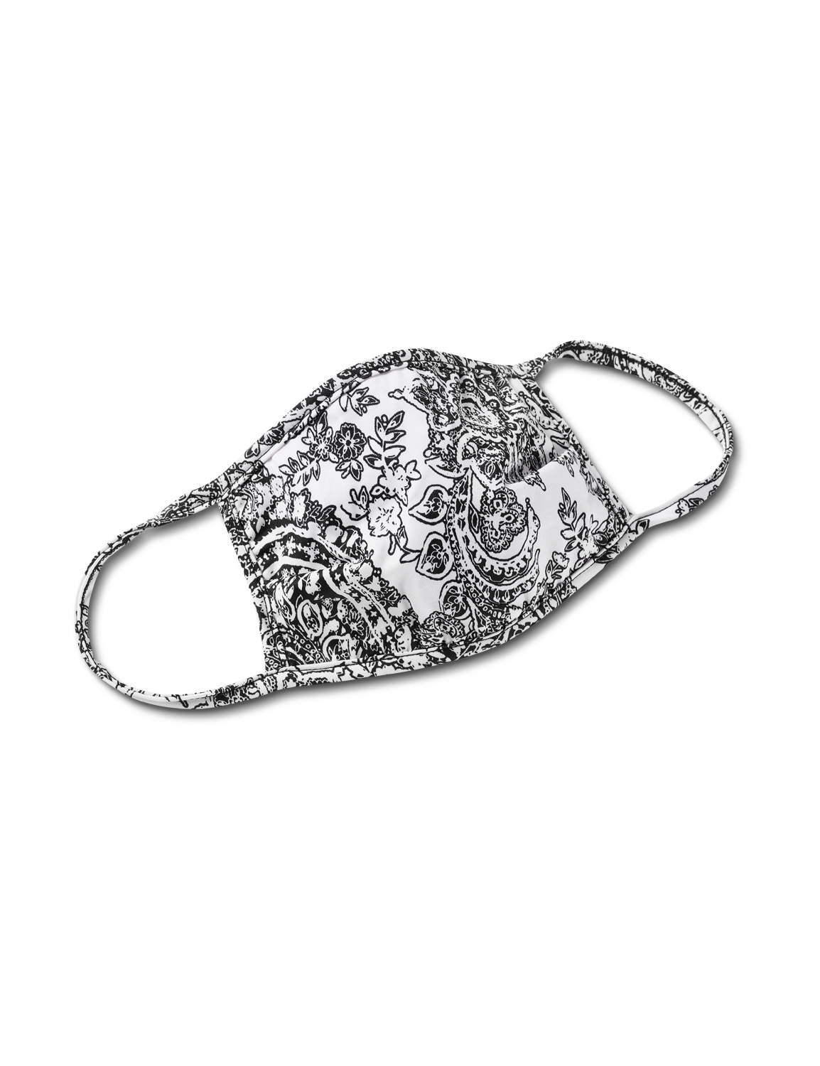 Etched Floral Fashion Mask - Black / White - Front