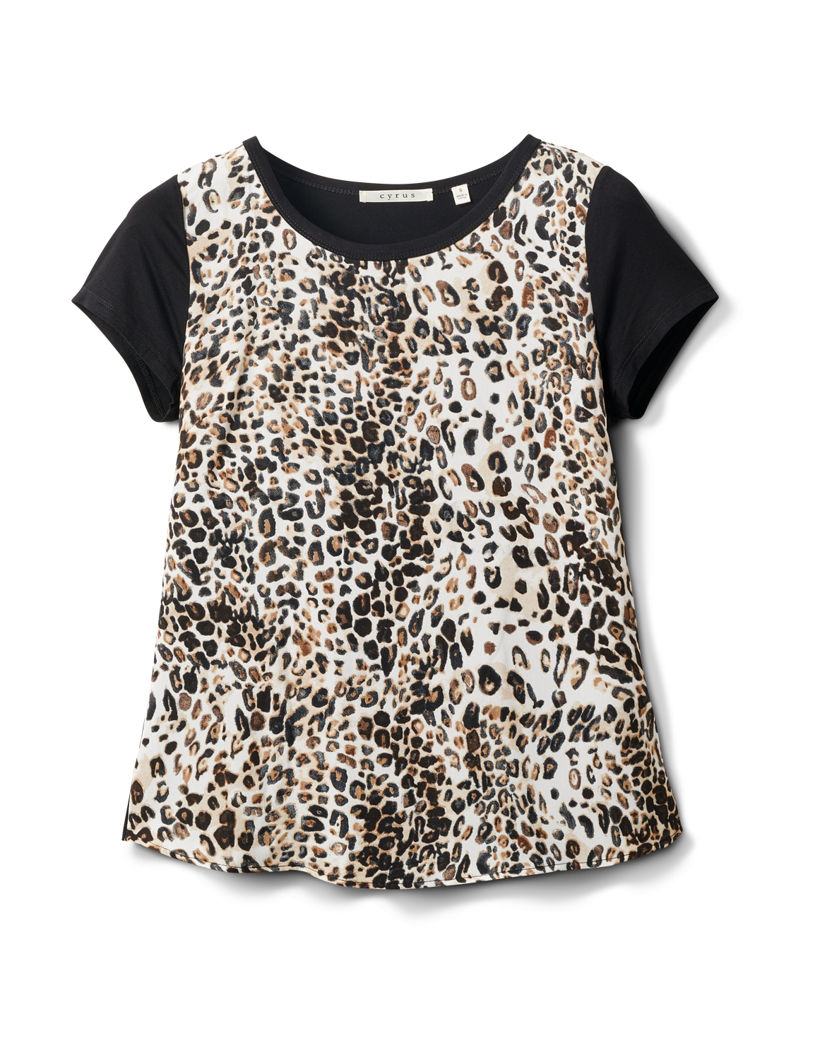Leopard Mix Media Knit Top -Black - Front