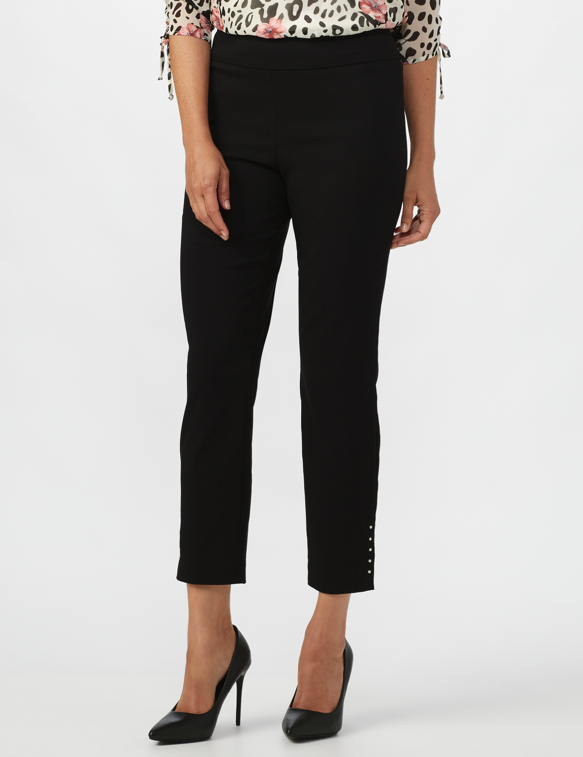 Roz & Ali Solid Superstretch Tummy Panel Pull On Ankle Pants With Rivet Trim Bottom - Misses -Black - Front