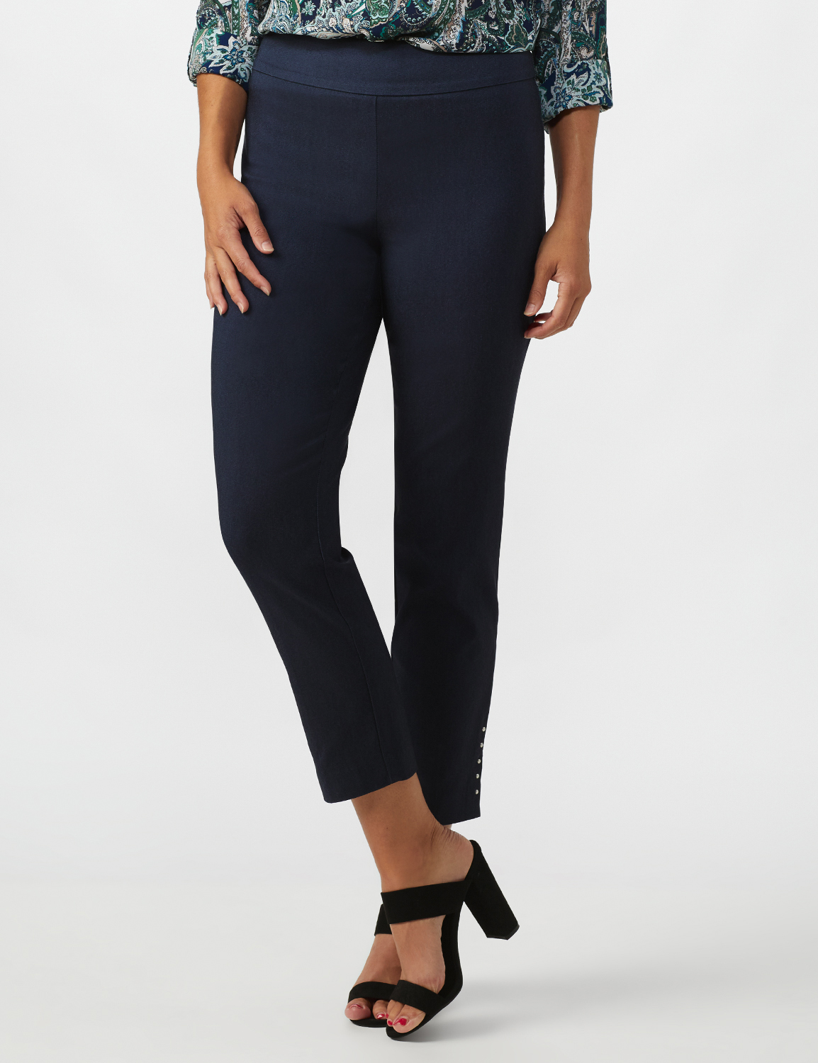 Roz & Ali Solid Superstretch Tummy Panel Pull On Ankle Pants With Rivet Trim Bottom - Misses -Dark Denim - Front