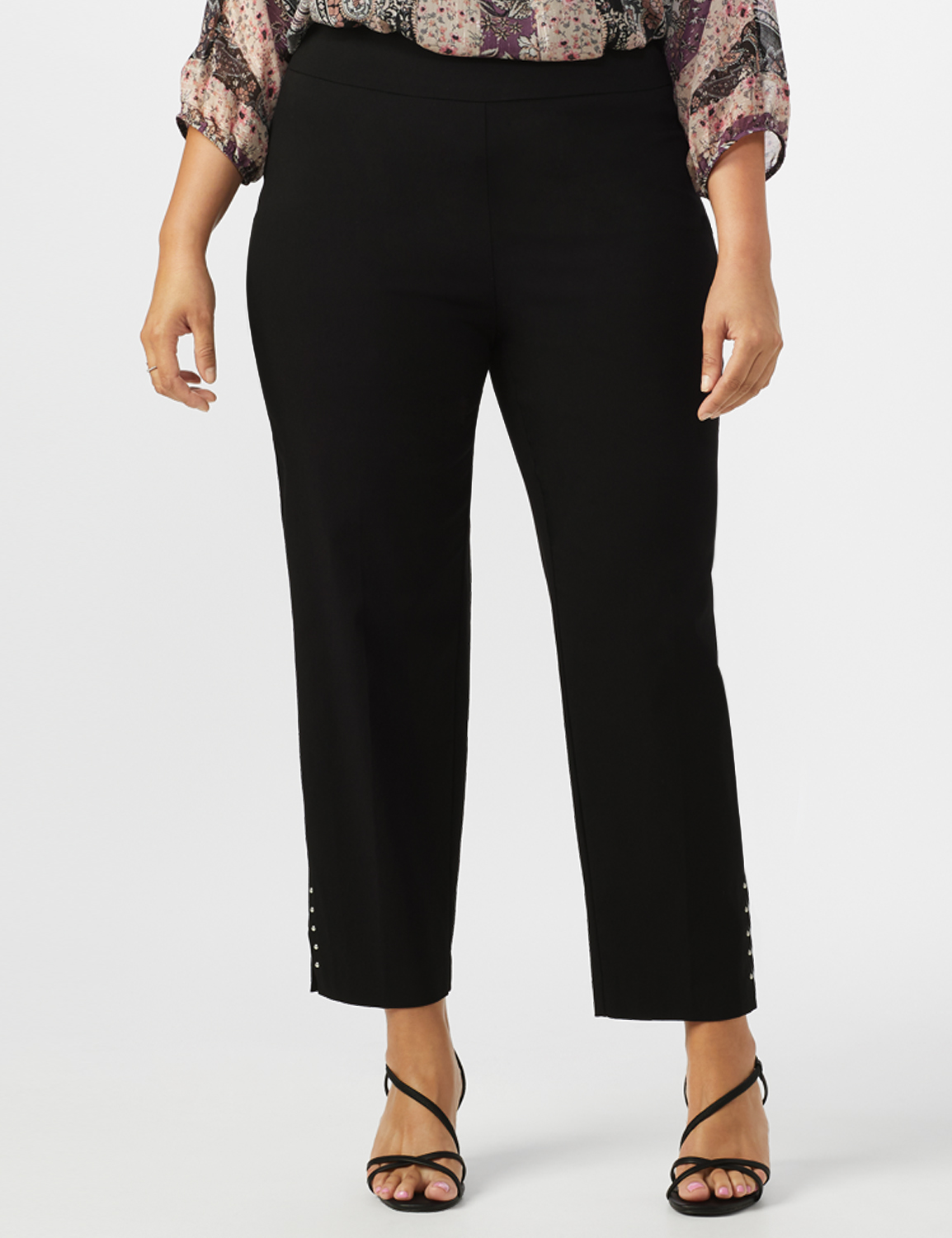 Roz & Ali Solid Superstretch Tummy Panel Pull On Ankle Pants With Rivet Trim Bottom - Plus -Black - Front