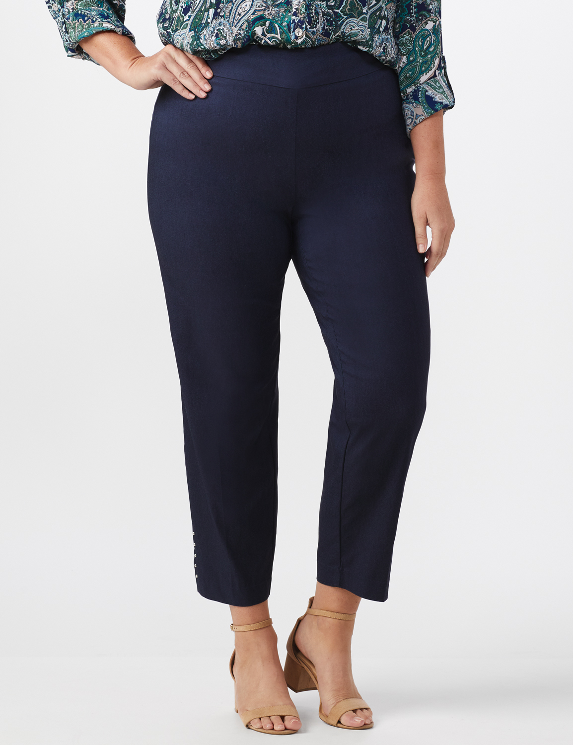 Roz & Ali Solid Superstretch Tummy Panel Pull On Ankle Pants With Rivet Trim Bottom - Plus -Dark Denim - Front