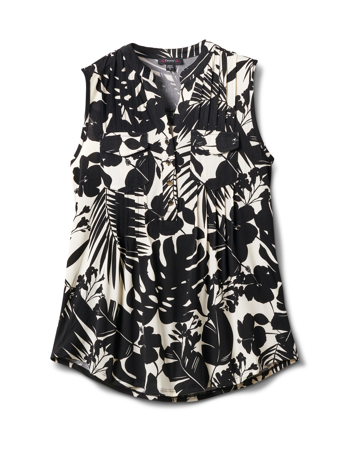 Tropical Floral Sleeveless Knit Popover -Black/Ivory - Front