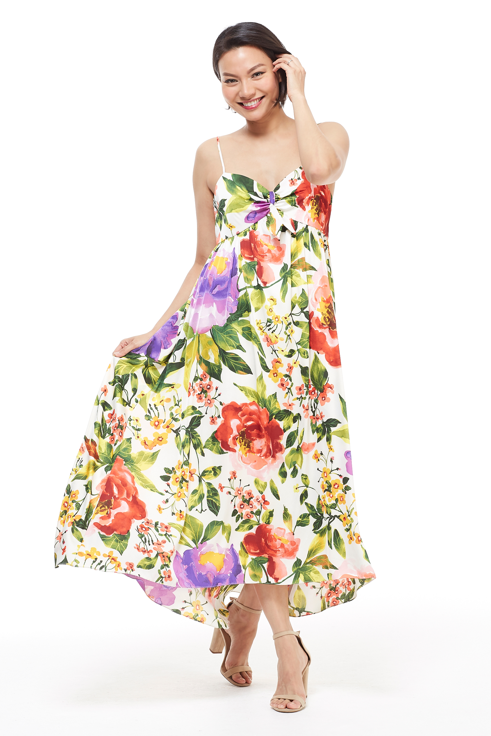 Floral Midi Knot Tie Sundress - Red/Purple - Front