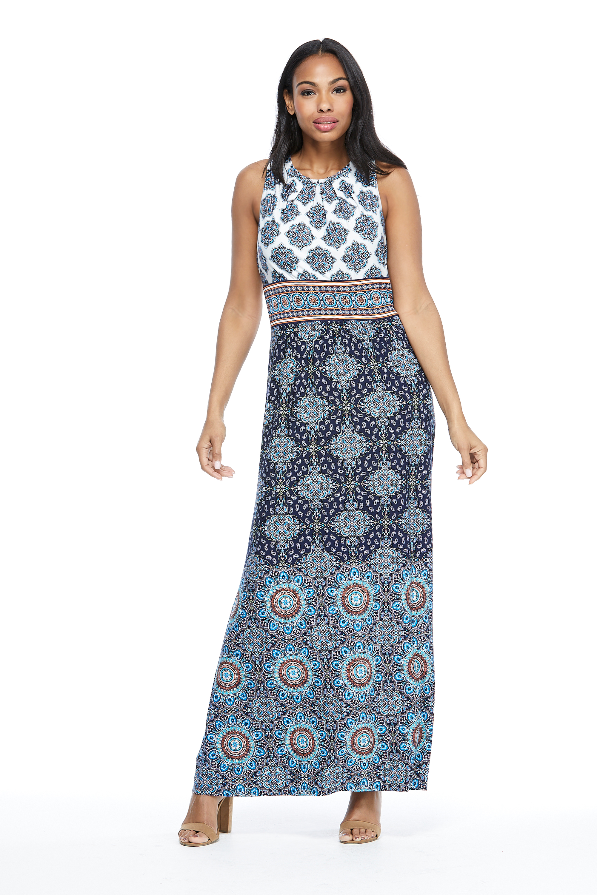 Mixed Pattern Maxi Dress -Navy/Red - Front
