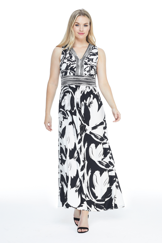 V-Neck Large Floral Maxi Sundress - Black/White - Front