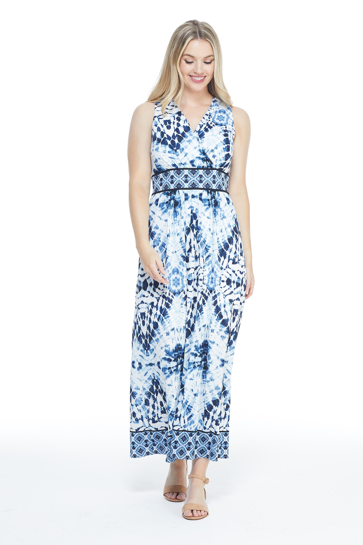 Ikat Pattern Mesh Maxi Dress -White/Blue - Front