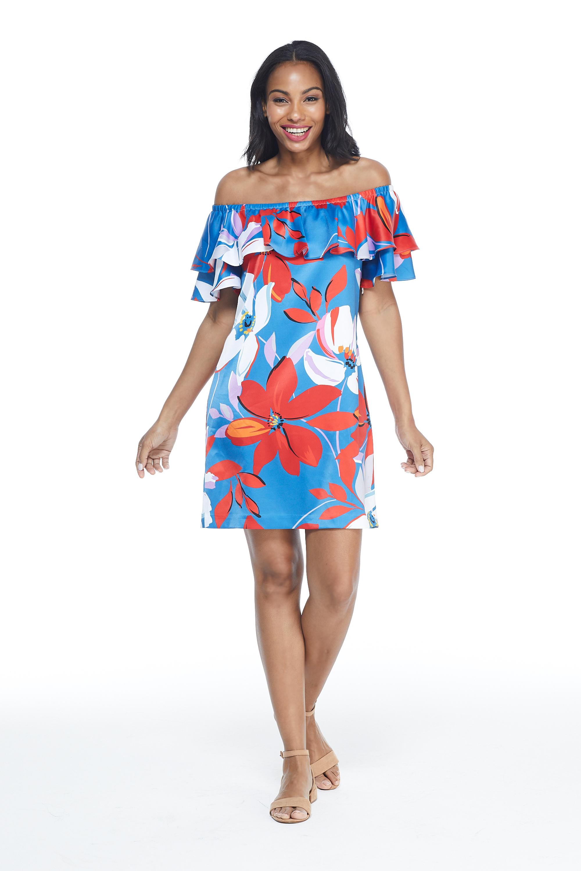 Large Floral Short Sundress -Red/Blue - Front