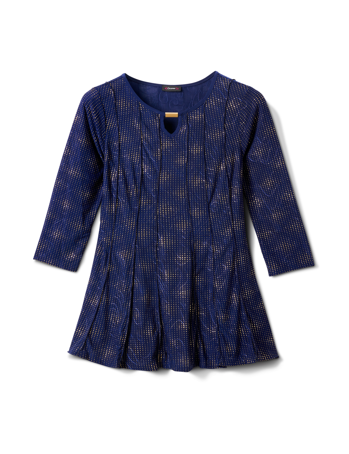Gold Foil Fit And Flare Knit Top -Navy/Gold - Front