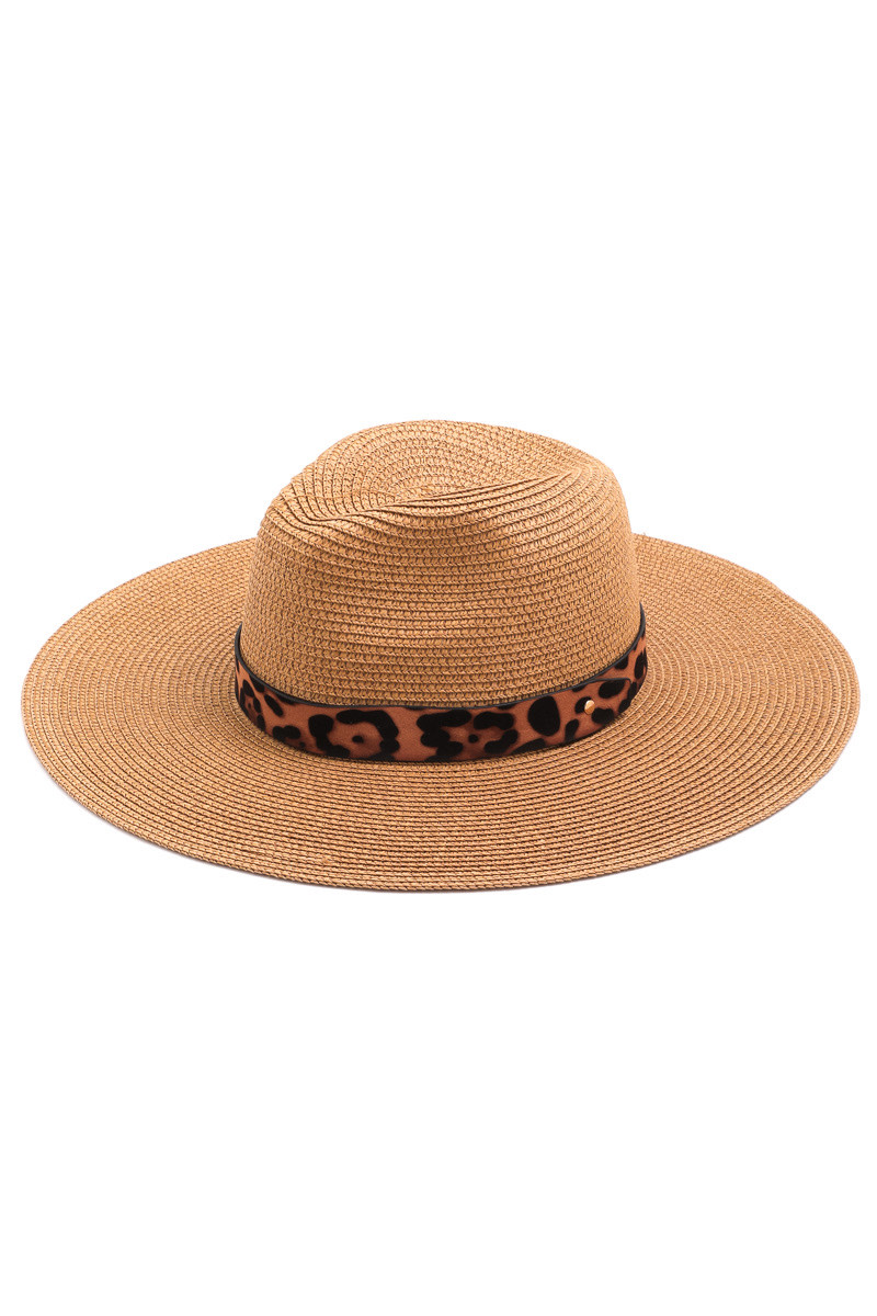 Woven Sun Hat With Leopard Trim -Tan - Front